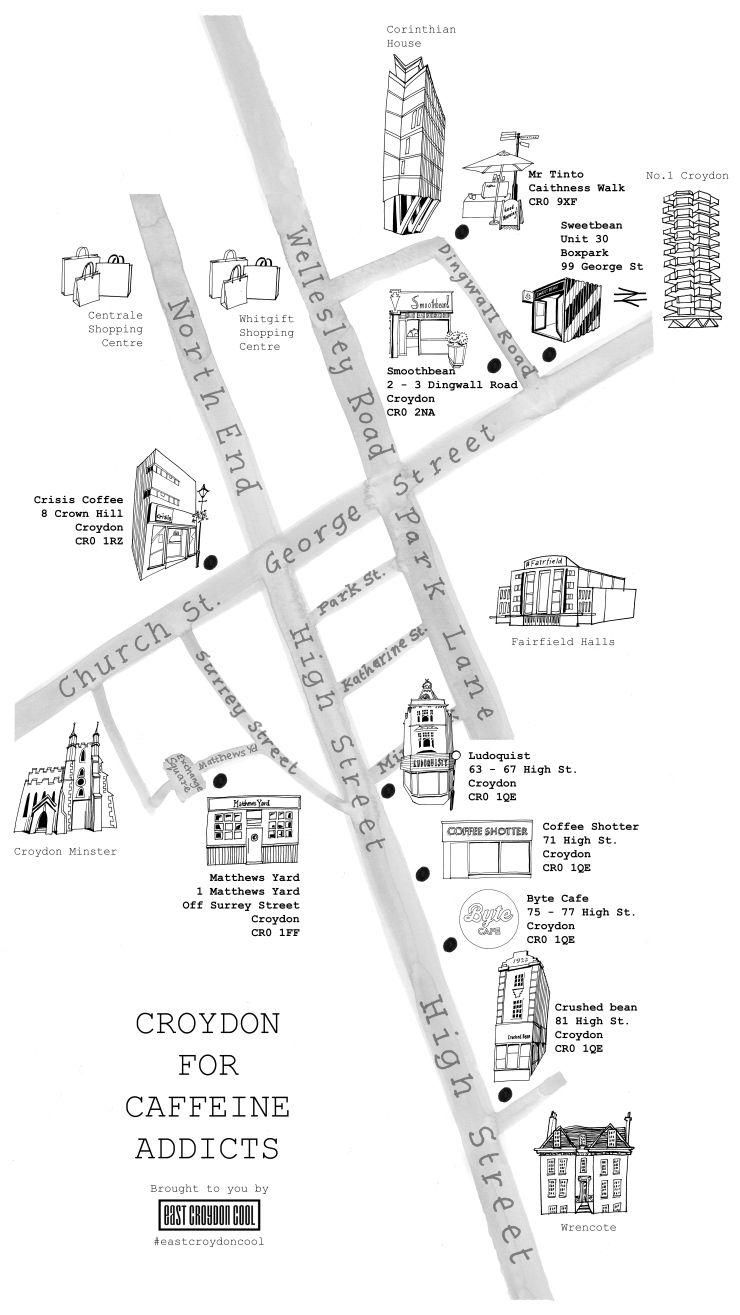 Croydon for Caffeine Addicts Map